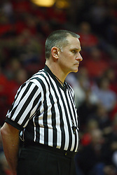 30 January 2011: Referee Kelly Self during an NCAA basketball game between the Drake Bulldogs and the Illinois State Redbirds. The Redbirds win in OT 77-75 after a last three point shot by Drake was ruled too late at Redbird Arena in Normal Illinois.