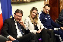 GIANCARLO GIORGETTI E FRANCESCA PICCININI<br /> PALLAVOLO CELEBRAZIONE COPPE EUROPEE VOLLEY 2018-2019 VINTE DALLE SQUADRE ITALIANE A PALAZZO CHIGI A ROMA<br /> ROMA 22-05-2019<br /> FOTO FILIPPO RUBIN