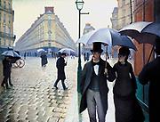 La Place de l'Europe, temps de pluie' (Paris Street, Rainy Day), 1877. Oil on canvas. Gustave Caillebotte (1848-1984) French painter.   Impressionism Realist School City Street Road Pavement Pedestrian Male Female Umbrella