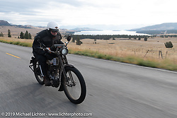 Dean Bordigioni with his single-cylinder single-speed 1914 Harley-Davidson on the Motorcycle Cannonball coast to coast vintage run. Stage 13 (254 miles) Kalispell, MT to Spokane, WA. Friday September 21, 2018. Photography ©2018 Michael Lichter.