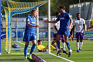 Possible own goal but AFC Wimbledon striker Joe Pigott (39) celebrates with \w5 during the EFL Sky Bet League 1 match between AFC Wimbledon and Shrewsbury Town at the Cherry Red Records Stadium, Kingston, England on 14 September 2019.