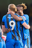 Gillingham FC forward Tom Eaves (9) scores a goal (2-0) and celebrates with team mate Gillingham FC defender Gabriel Zakuani (6) during the EFL Sky Bet League 1 match between Gillingham and Fleetwood Town at the MEMS Priestfield Stadium, Gillingham, England on 3 November 2018.<br /> Photo Martin Cole
