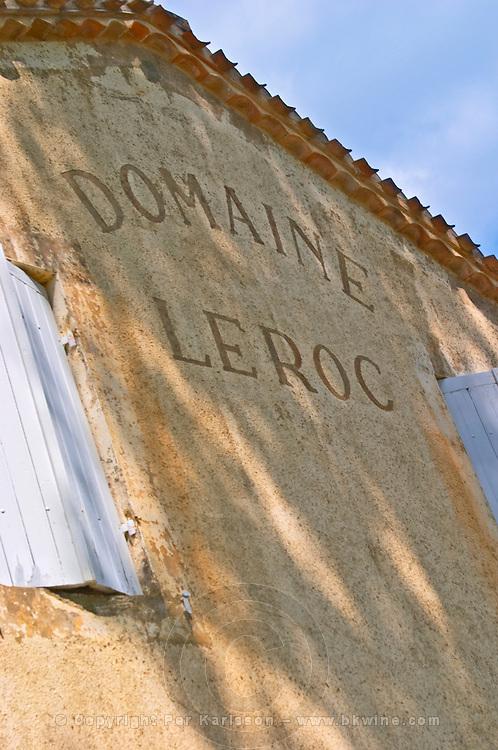 The Chateau Roc de Cambes with an inscription on the wall saying Domaine Le Roc (Leroc)  Cotes de Bourg  Bordeaux Gironde Aquitaine France
