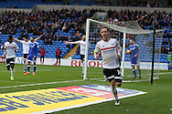 Stefan Johansen © of Fulham celebrates after he scores his teams 1st goal. EFL Skybet championship match, Cardiff city v Fulham at the Cardiff city stadium in Cardiff, South Wales on Saturday 25th February 2017.<br /> pic by Andrew Orchard, Andrew Orchard sports photography.