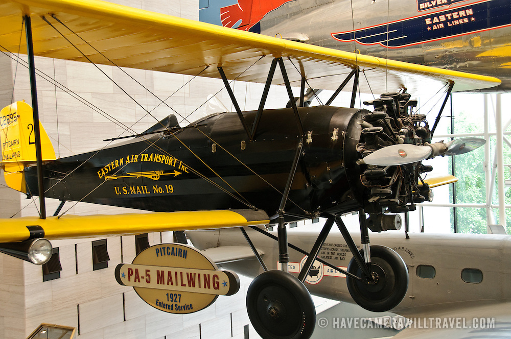 Early mail delivery aircraft on display at the Smithsonian's National Air and Space Museum in Washington, DC