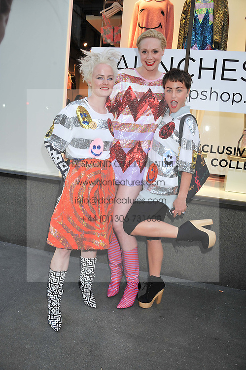 Left to right, LOUISE GRAY, GWENDOLINE CHRISTIE and JAIME WINSTONE at a party to celebrate the launch of Louise Gray's make-up and clothing collections for Topshop held at Topshop Edited, 286 Regent Street, London on 22nd August 2012.