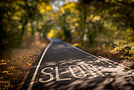 Slow Sign Painted in the Road on a Country Lane, Essex, Britain - 2011