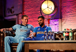 England's Eoin Morgan and India's Virat Kohli (right) during the press conference during the Cricket World Cup captain's launch event at The Film Shed, London.