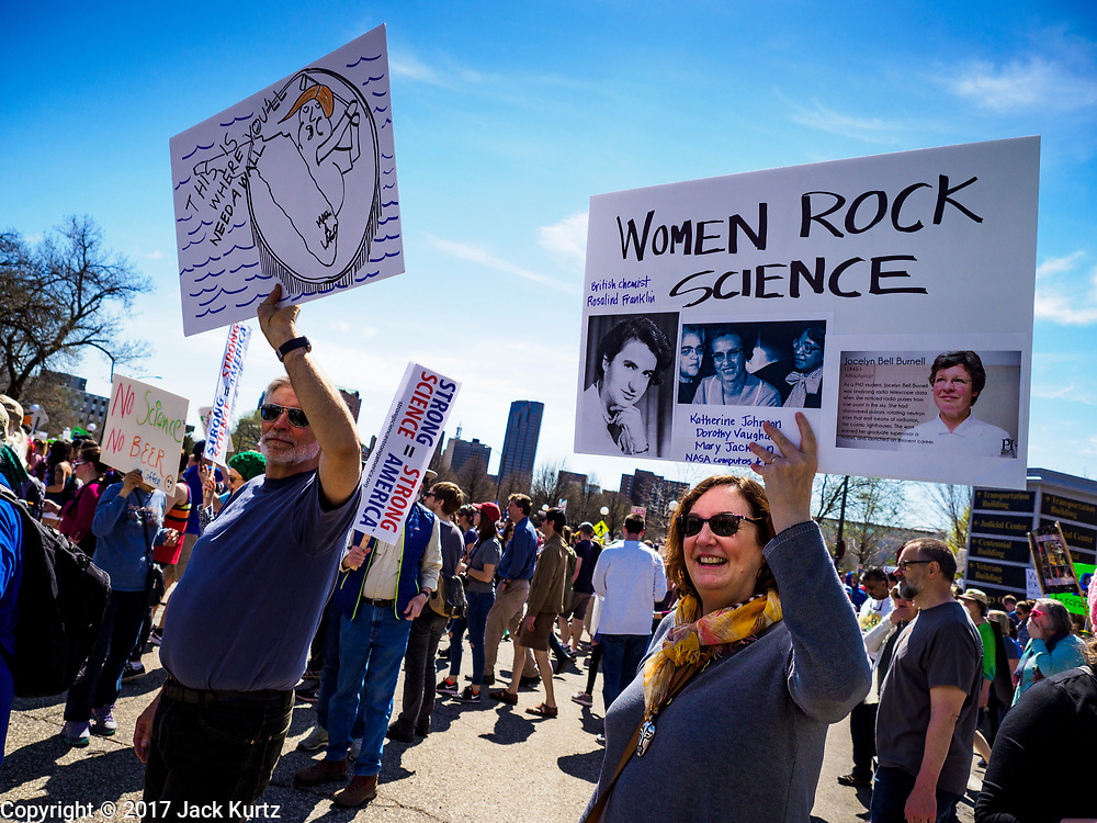22 APRIL 2017 - ST. PAUL, MN: Marchers at the Minnesota March for Science. More than 10,000 people marched from the St. Paul Cathedral to the Minnesota State Capitol in St. Paul during the March for Science. March organizers said the march was non-partisan and was to show support for the sciences, including the sciences behind climate change and vaccines.      PHOTO BY JACK KURTZ