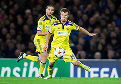 Mitja Viler of Maribor and Damjan Bohar of Maribor during football match between Chelsea FC and NK Maribor, SLO in Group G of Group Stage of UEFA Champions League 2014/15, on October 21, 2014 in Stamford Bridge Stadium, London, Great Britain. Photo by Vid Ponikvar / Sportida.com