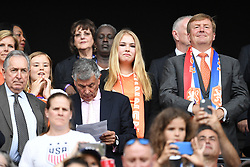 Princess Ariane of Netherlands, Crown Princess Amalia of Netherlands and King Willem-Alexander of the Netherlands during the FIFA Women's World Cup France 2019 final match between United States of America and The Netherlands at Stade de Lyon on July 07, 2019 in Lyon, France<br /> Photo by David Niviere/ABACAPRESS.COM