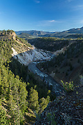 Calcite Springs and the Yellowstone River near Tower