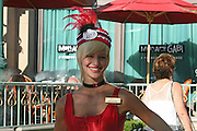 USA, Nevada, Las Vegas female greeter at the Paris Hotel