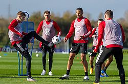 CARDIFF, WALES - Wednesday, October 7, 2020: Wales' David Brooks (L) and Ben Cabango during a training session at the Vale Resort ahead of the International Friendly match against England. (Pic by David Rawcliffe/Propaganda)