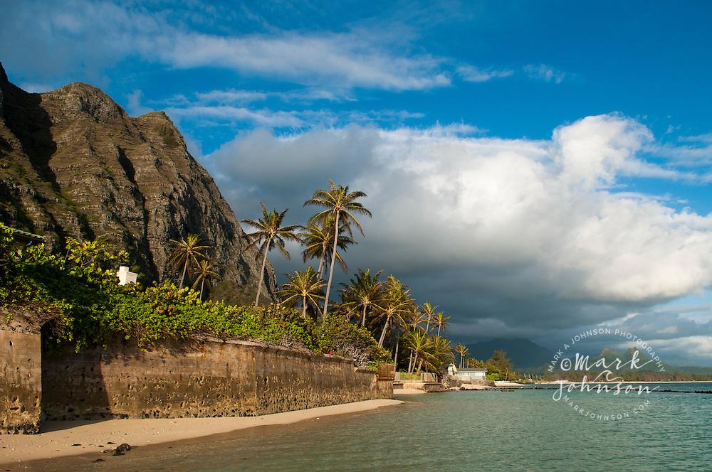 Seawall along beach, Waimanalo, Oahu, Hawaii