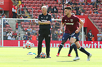 Football - 2021/ 2022 Premier League - Southampton vs. West Ham United - St Mary's Stadium - Saturday 11th August<br /> <br /> West Ham United Manager David Moyes overseas Declan Rice of West Ham United during the pre match warm up before kick off at St Mary's Stadium Southampton <br /> <br /> COLORSPORT/Shaun Boggust