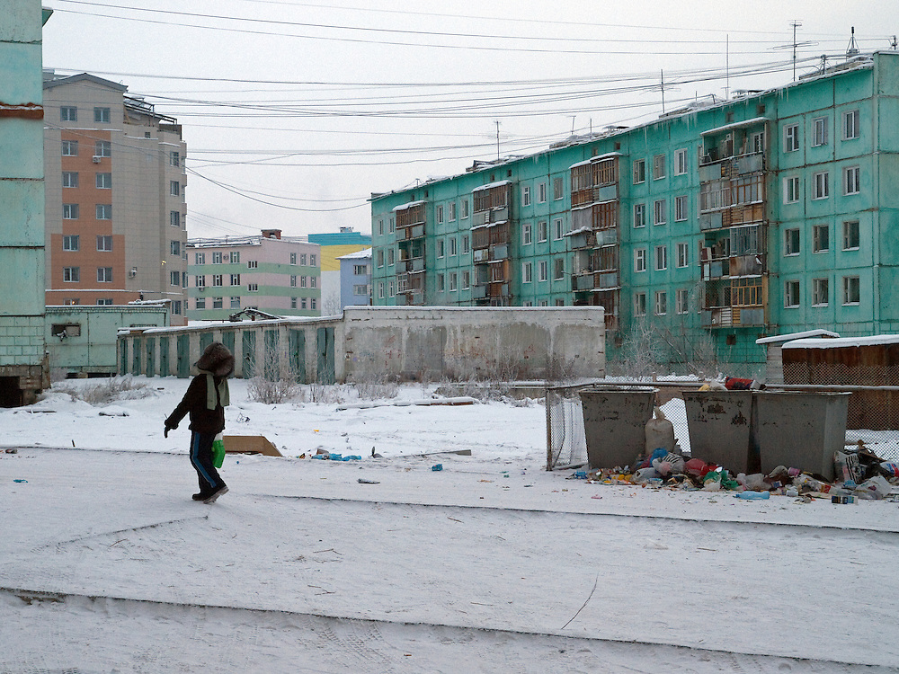 Panel houses in Yakutsk which is a city in the Russian Far East, located about 4° (450kilometres) below the Arctic Circle. It is the capital of the Sakha (Yakutia) Republic (formerly the Jakut Autonomous Soviet Socialist Republic), Russia and a major port on the Lena River. Yakutsk is one of the coldest cities on earth, with January temperatures averaging 40.9°C (41.6°F).