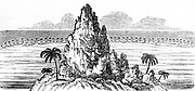Coral island and circling coral reef creating a lagoon. From Charles Darwin 'The Structure and Distribution of Coral Reefs', London, 1842. The realisation of  the long time scale entailed in the creation of islands and reefs contributed to Darwin's theory of evolution.