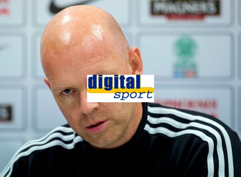 05/08/14<br /> BT MURRAYFIELD STADIUM - EDINBURGH<br /> Legia Warsaw manager Henning Berg speaks to the press ahead of taking on Celtic