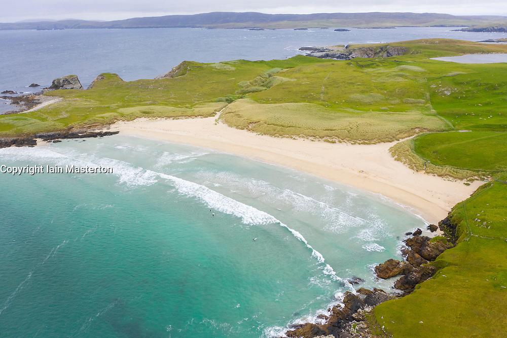 View of beach at Wick of Breckon on Island of Yell, Shetland, Scotland, UK