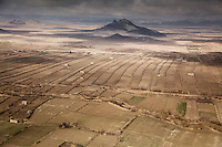 Rural Kandahar province, in southern Afghanistan, as seen from a Black Hawk Helicopter. Irrigation ditches, ruined buildings and row upon row of grape berms offer a wealth of natural defensive positions. US troops from the 101st Airborne Division have been battling to clear Zhari, the birthplace of the Taleban, of insurgents.