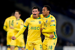 Jonathan Silva of Sporting celebrates with Andre Carrillo after scoring a goal to make it 2-1 - Photo mandatory by-line: Rogan Thomson/JMP - 07966 386802 - 10/12/2014 - SPORT - FOOTBALL - London, England - Stamford Bridge - Sporting Clube de Portugal - UEFA Champions League Group G.