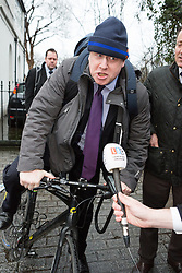 © Licensed to London News Pictures. 22/02/2016. London, UK. BORIS JOHNSON leaving his London home this morning. Boris Johnson announced yesterday that he will be backing the 'Leave EU' campaign and voting for Britain to leave the European Union in the referendum, which will be held on 23rd June 2015. Photo credit : Vickie Flores/LNP