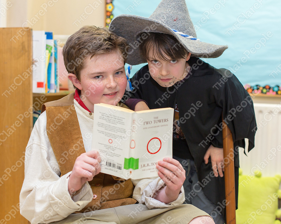 Tom Tynan and Odinn Nolan as charachters from Lord of the Rings at Crusheen NS World Book Day