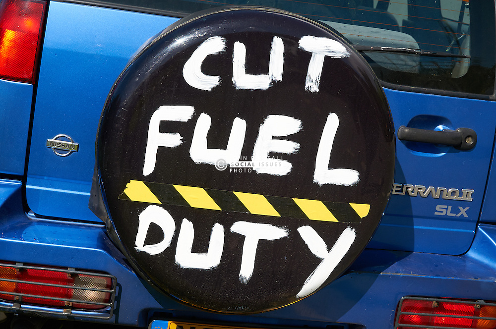 Fuel protest Stanlow oil refinery, Ellesmere Port, Merseyside UK May 2011