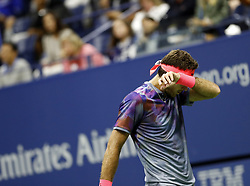 NEW YORK, Sept. 9, 2017  Juan Martin del Potro of Argentina reacts during the men's singles semifinal match against Rafael Nadal of Spain at the 2017 U.S. Open in New York, the United States, Sept. 8, 2017. Juan Martin del Potro lost 1-3. (Credit Image: © Qin Lang/Xinhua via ZUMA Wire)