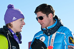 22.01.2011, Tofana, Cortina d Ampezzo, ITA, FIS World Cup Ski Alpin, Lady, Cortina, Abfahrt, im Bild Maria Riesch (GER, #18, Platz 1) mit ihrem Manager und Verlobten Markus Höfel // Maria Riesch (GER, place 1) and and her manager and boyfrind Marcus Hoefl during FIS Ski Worldcup ladies Downhill at pista Tofana in Cortina d Ampezzo, Italy on 22/1/2011. EXPA Pictures © 2011, PhotoCredit: EXPA/ J. Groder