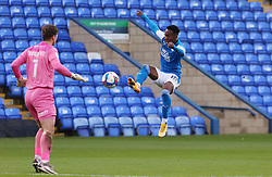 Siriki Dembele of Peterborough United knocks the ball around Harry Burgoyne of Shrewsbury Town before being brought down for a penalty - Mandatory by-line: Joe Dent/JMP - 31/10/2020 - FOOTBALL - Weston Homes Stadium - Peterborough, England - Peterborough United v Shrewsbury Town - Sky Bet League One