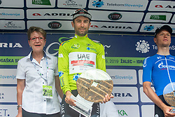 Winner Diego Ulissi (ITA) of UAE Team Emirates celebrates at trophy ceremony after the 5th Stage of 26th Tour of Slovenia 2019 cycling race between Trebnje and Novo mesto (167,5 km), on June 23, 2019 in Slovenia. Photo by Vid Ponikvar / Sportida