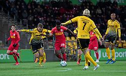 Malte Kiilerich (AC Horsens) og Mohammed Kudus (FC Nordsjælland) under kampen i 3F Superligaen mellem FC Nordsjælland og AC Horsens den 19. februar 2020 i Right to Dream Park, Farum (Foto: Claus Birch).