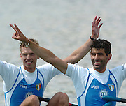 FISA World Cup Rowing Munich Germany..Photo Peter Spurrier 29/05/2004. Finals day..ITA LW2X Bow Elia Luini and Leonardo Pettinari [Mandatory Credit: Peter Spurrier: Intersport Images].