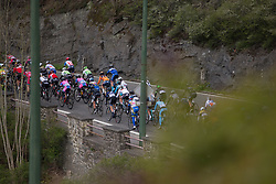The peloton starts the climb out of Houffalize during the Liege-Bastogne-Liege Femmes - a 135.5 km road race, between  Bastogne and Ans on April 23, 2017, in Liege, Belgium.