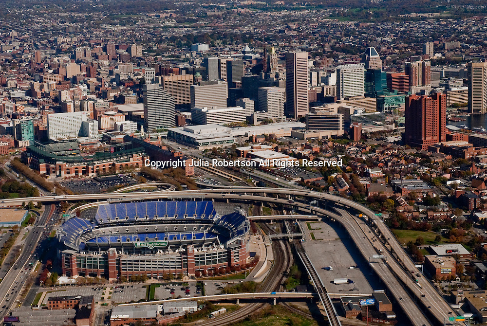 aerial view, of M&T Bank Stadium,  Camden Yards, home of the Baltimore Orioles,drone view