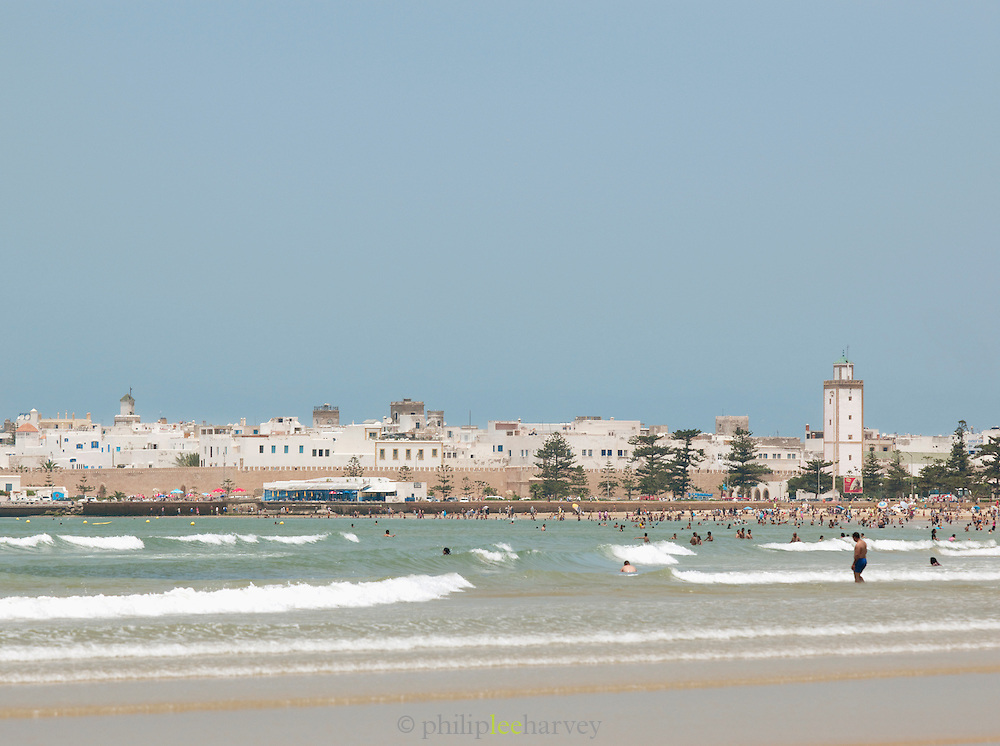 A view of the old city, the medina, from across the bay at the new town of Essaouira in Morocco