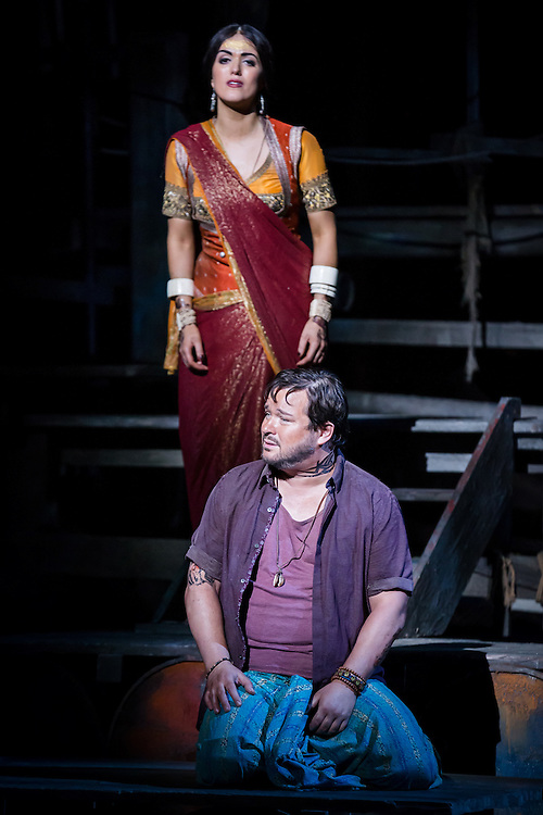 """LONDON, UK, 17 October, 2016.  Robert McPherson (as """"Nadir"""", bottom) and Claudia Boyle (as """"Leila"""", top) rehearse for the revival of director Penny Woolcock's production of Bizet's opera """"The Pearl Fishers"""" at the London Coliseum for the English National Opera.  The production opens on 19 October."""