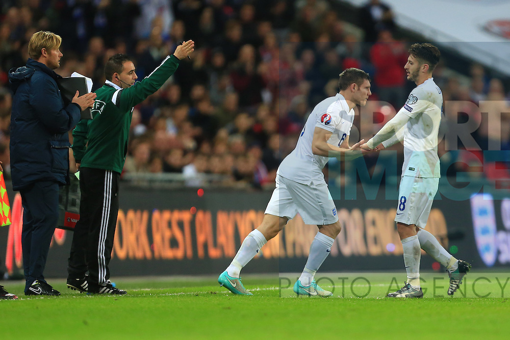 James Milner replaces Adam Lallana of England - England vs. Slovenia - UEFA Euro 2016 Qualifying - Wembley Stadium - London - 15/11/2014 Pic Philip Oldham/Sportimage