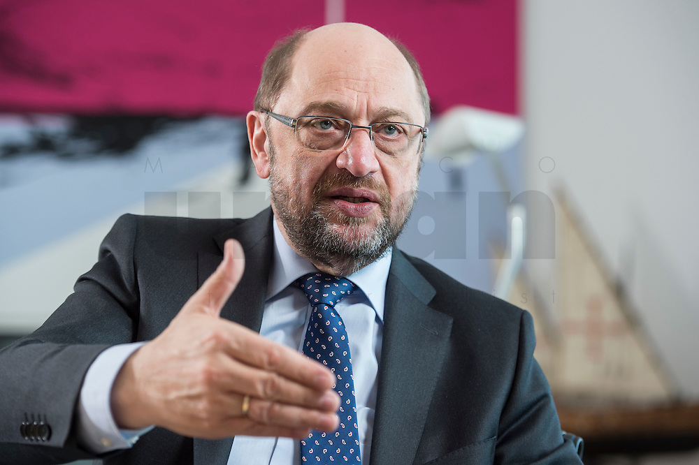 27 FEB 2017, BERLIN/GERMANY:<br /> Martin Schulz, SPD, desig. Parteivorsitzender und Kanzlerkandidat, waehrend einem Interview, in seinem Beuro, Willy-Brandt-Haus<br /> IMAGE: 20170227-01-032
