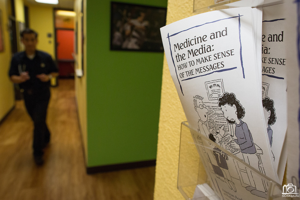 Health and medicine informational pamphlets lines the hallways at South East Bay Pediatrics Medical Group in Fremont, California, on April 18, 2014. (Stan Olszewski/SOSKIphoto)