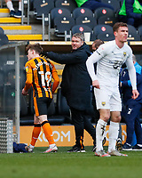 Hull City manager Grant McCann pats Keane Lewis-Potter on the head as he is substituted in the 73rd minute<br /> <br /> Photographer Lee Parker/CameraSport<br /> <br /> The EFL Sky Bet League One - Hull City v Oxford United - Saturday 13th March 2021 - KCOM Stadium - Kingston upon Hull<br /> <br /> World Copyright © 2021 CameraSport. All rights reserved. 43 Linden Ave. Countesthorpe. Leicester. England. LE8 5PG - Tel: +44 (0) 116 277 4147 - admin@camerasport.com - www.camerasport.com