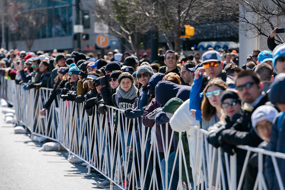 Spectators line Marietta Street prior to the 2020 U.S. Olympic marathon trials in Atlanta on Saturday, Feb. 20, 2020. Photo by Kevin D. Liles for The New York Times