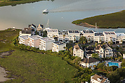 Aerial view of Tolers Cove on the marsh in Mt Pleasant, SC
