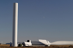 29 October 2006:  A turbine and a set of assembled blades sit in a harvested field waiting to be assembled into a working windmill.  The windmill will be used to harness the wind to produce electricity. Eastern McLean County, Illinois.<br />