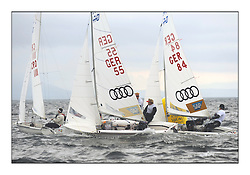 470 Class European Championships Largs - Day 1.Racing in grey and variable conditions on the Clyde..GER55, Jasper WAGNER, Dustin BALDEWEIN, Verein Seglerhaus Am Wannsee