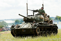 A US M24 Chaffee Light Tank of the 2nd armoured division at Spam 1940s Wartime Weekend Heckmondwike <br /> 9th July 2011.<br /> Images © Paul David Drabble