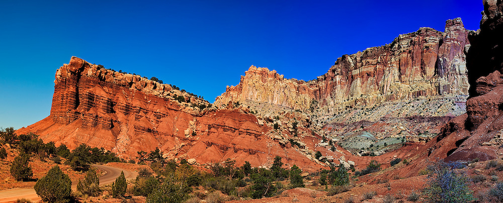 Capital Panorama: These jagged and colourful mountains project themselves up from the arid plains to form Capital Reef National Park, Utah, United States of America.