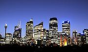 AUSTRALIA - SYDNEY  Sydney City Centre at night from across farm cove at The Royal Botanical Gardens. 04/01/2010. STEPHEN SIMPSON...